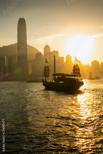 The Boat on Victoria harbour with sunset at Hong Kong.