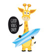 Cute raster Illustration with summer giraffe - 236047610