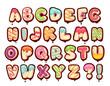 Sweet alphabet. Cartoon kids letters. Donut font