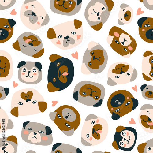 fototapeta na ścianę Cute vector seamless pattern with heads of dogs isolated on the white background. Funny pugs fabric design.