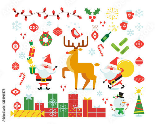 Christmas background with decorations. Deer. - 236068879