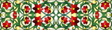 Illustration in stained glass style with  red flowers, leaves and buds  on a yellow background, symmetrical image, horizontal orientation