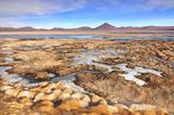 Bolivia, Laguna Colorada, Red Lagoon, Shallow Salt Lake in the Southwest of the Altiplano of Bolivia, within Eduardo Avaroa Andean Fauna National Reserve. - 236069084