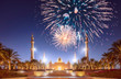 Leinwanddruck Bild - Beautiful fireworks above Sheikh Zayed Grand Mosque at sunset Abu-Dhabi, UAE