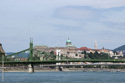 Liberty bridge over Danube river Budapest cityscape