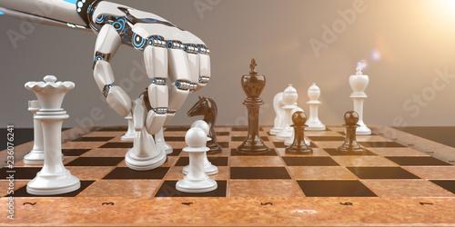 Leinwanddruck Bild Robot Hand Chessboard