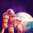 Selfie in outer space cartoon vector illustration with astronaut in futuristic spacesuit making portrait photo with selfie stick on background of planet Earth. Space tourist or exoplanet explorer fun - 236077256
