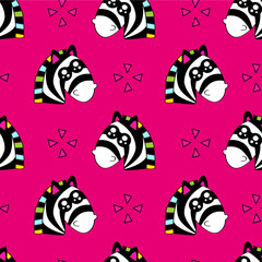 Cute kids zebra pattern for girls and boys. Colorful zebra, stars on the abstract background create a fun cartoon drawing. The pattern is made in neon colors. Urban zebra pattern for textile, fabric