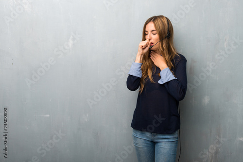Leinwanddruck Bild Telemarketer woman is suffering with cough and feeling bad