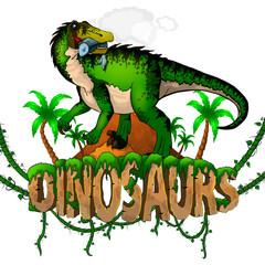 Logo Dinosaurs World with Baryonyx. Vector illustration.