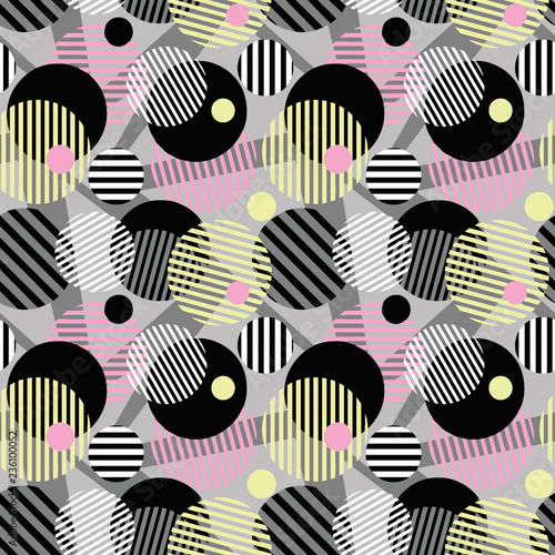 Seamless dotted circles colorful pattern, stripped round shapes.