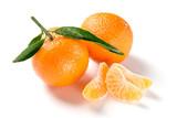 Orange mandarine, tangerine, clementine with leaves isolated on white background