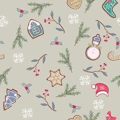 Background with hand drawn Christmas gingerbread and spruce twigs. © tanyalmera