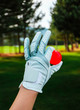 A hand of female golfer with a glove and red ball, close up. Green golf courses on the background.
