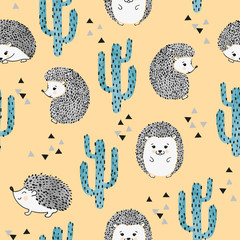 Seamless vector childish pattern with cute watercolor hedgehog and cactus.