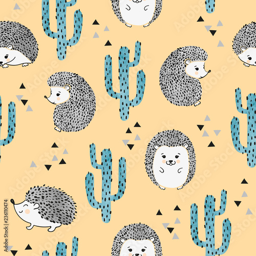 fototapeta na ścianę Seamless vector childish pattern with cute watercolor hedgehog and cactus.
