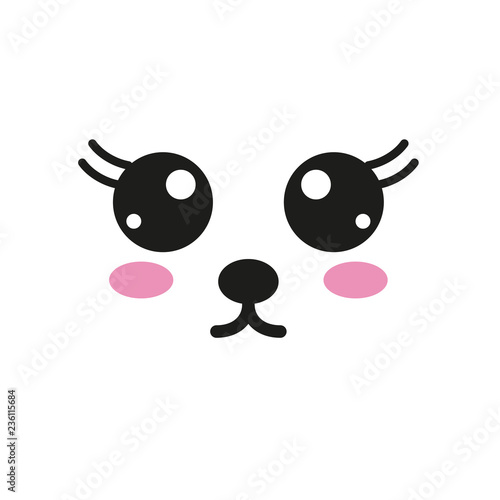 Vector illustration with kawaii faces - 236115684