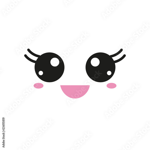 Vector illustration with kawaii faces - 236115819