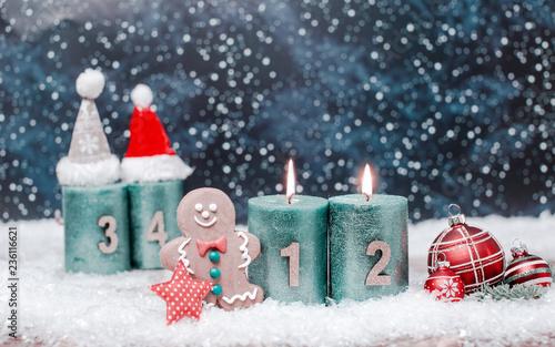 Leinwandbild Motiv Advent Kerzen Hintergrund 2.Advent Romantisch