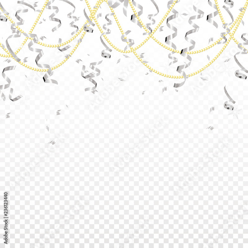 Falling silver serpentine and gold beads on transparent background. Shine ribbon. Holiday design.Vector realistic background