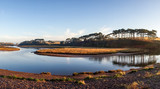 River Otter tidal lagoon at high tide with reflections, The Jurassic Coast World Heritage Site, Budleigh Salterton, Devon - 236124892