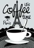 Vector banner on the theme of coffee and travel with handwritten inscriptions and a Cup of coffee on the background of the Prague landscape.