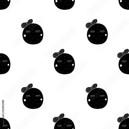 fototapeta na ścianę Kids seamless pattern for print, textile, fabric. Black baby illustration.