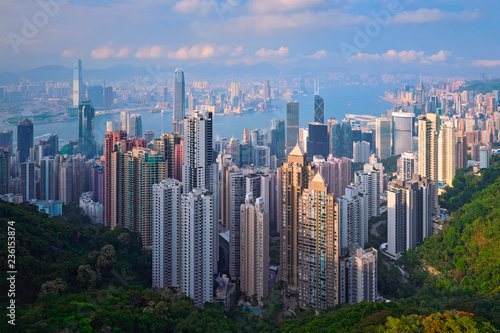 Leinwanddruck Bild Hong Kong skyscrapers skyline cityscape view