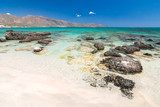 The Elafonissi Beach with crystal clear water, lagoon in the southwest of Crete island, Greece, Europe. - 236162886