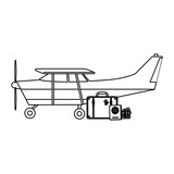 Small airplane with luggage black and white - 236166069