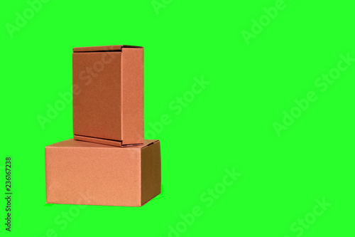 Two boxes separately on a green background isolated no gift parcel people - 236167238