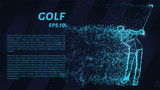 Golf from the blue points of light. Golf of particles. Vector illustration.