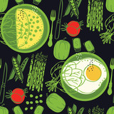 Food collection Omelette and fresh vegetables Black background Seamless pattern - 236188434