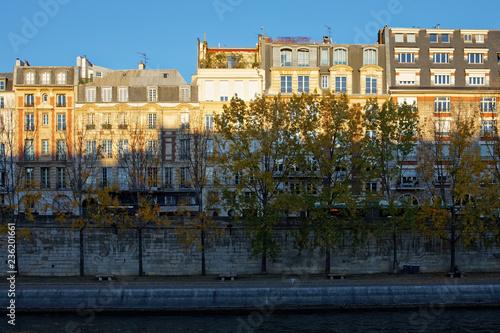 fototapeta na ścianę Paris, France - November 18, 2018: Haussmann buildings along the bank of river Seine