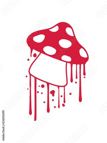 blut graffiti tropfen stempel pilz fliegenpilz rot punkte essen giftig lecker hunger drogen trip wald sammeln kochen clipart design comic cartoon