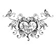 Single and happy - lettering text in ornate heart  - 236209027