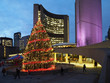 Civic square  in front of Toronto City Hall is brightly lit with Christmas decorations each year.