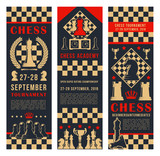 Game tournament banners with chess pieces