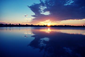 Soleil lac de la Ramée