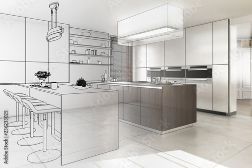 Leinwanddruck Bild Contemporary Designed Kitchen (development)