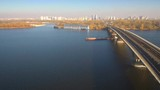Aerial, top view from Drone: Barge with sand ship sails on the river. Shipping on the river. - 236234289