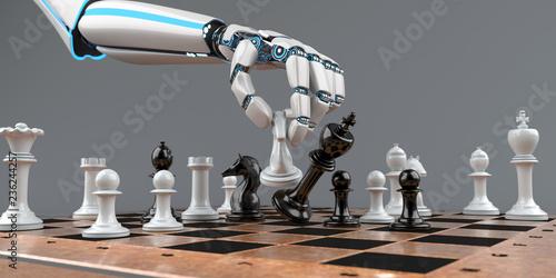 Leinwandbild Motiv Schachmatt Eine Roboterhand mit Schachfiguren auf einem Schachbrett