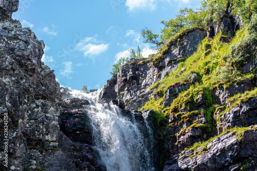 Top view of the waterfall Njupeskar in northern Sweden - 236245058