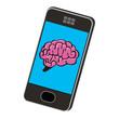 Concept du smartphone et de l'intelligence avec un cerveau dessiné sur l'écran
