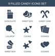candy icons. Set of 9 filled candy icons included chocolate, sweet box, candy cane, lollipop, cookie, cookies on white background. Editable candy icons for web, mobile and infographics.