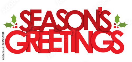 SEASON′S GREETINGS banner with holly motifs