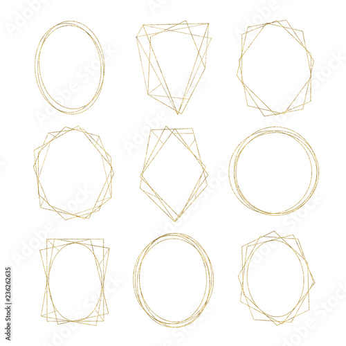 Gold geometrical round oval frame isolated on white background