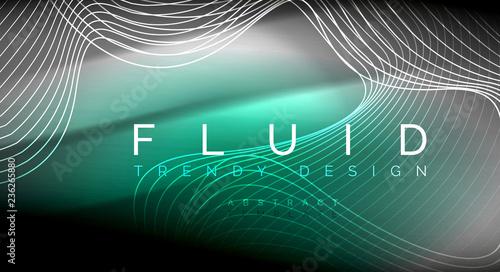 Neon świecące linie fala płyn, magia energii przestrzeń światła koncepcja, streszczenie tapeta tło, marszczyć tekstury ilustracji