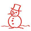 Handgezeichneter Schneemann in rot