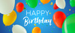 Happy Birthday banner of color party balloons